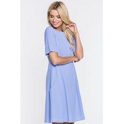 45fb161e1b Trapezowa sukienka w błękitnym kolorze - Paola Collection