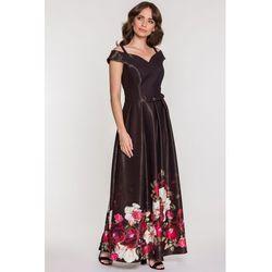 6f63890bc39f8 Studio mody francoise Czarna sukienka wieczorowa w kwiaty -