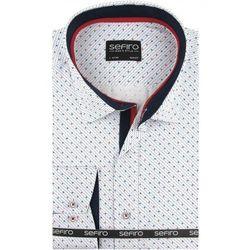 7095875ebb6823 Koszula męska biała w kropki slim fit na spinki lub guzik a100 marki Sefiro