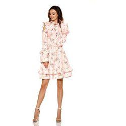 269de2991a Różowa wzorzysta sukienka w kwiaty z falbankami typu cold shoulder marki  Lemoniade