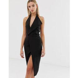 c6bf7731e1 Lavish alice halterneck lapel midi dress in black - black
