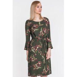 5ec20d736512 Ciemnozielona sukienka z szarfą - Sobora