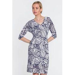73614c2984143 Sukienka w biało-granatowe wzory - Vito Vergelis
