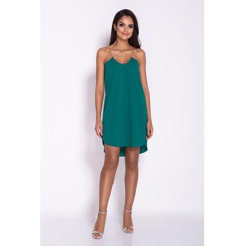e60b0ac97b Zielona Elegancka Luźna Sukienka z Wydłużonym tyłem na Wesele