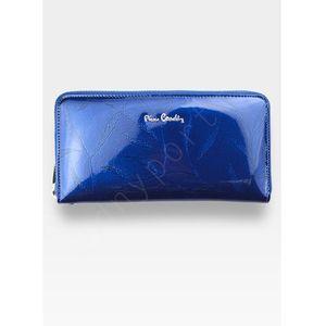 64e9bb1305e28 Portfel Damski Pierre Cardin Skórzany Skóra Naturalna Niebieski Lakierowany  w Liście 119 - Niebieskie Liście