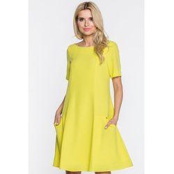 1513ddb56f Trapezowa sukienka w żółtym kolorze marki Paola collection
