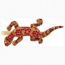 Broszka Mustique Sea Life Geko, brązowa, powłoka w odcieniu złota