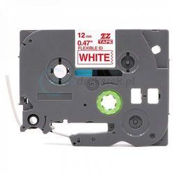 Taśma Brother Flexi TZe-FX232 biała/czerwony nadruk 12mm x 8m zamiennik