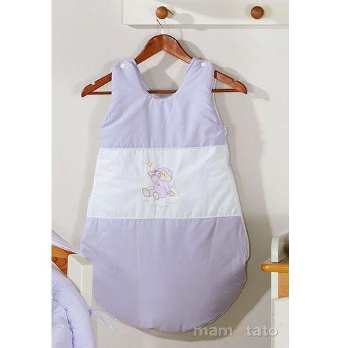 Śpiworki dla niemowląt, MAMO-TATO Śpiworek haftowany Miś na chmurce w fiolecie