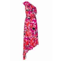 Sukienka z dżerseju z nadrukiem i aplikacją z perełek bonprix koralowy z nadrukiem