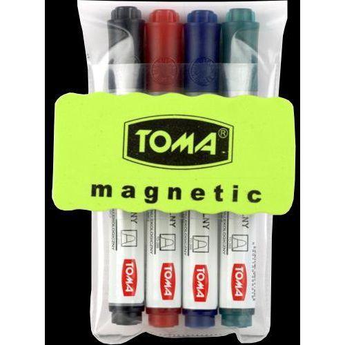 Markery, Marker do tablic 4 kolory + ścierak TOMA