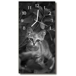 Zegar Szklany Pionowy Zwierzęta Kot zwierzęta szary