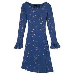 Sukienka z dżerseju z wolantami bonprix niebieski ze złotym nadrukiem