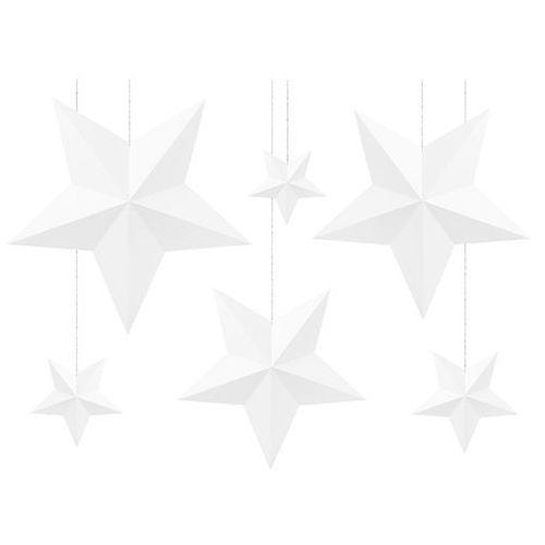 Pozostałe wyposażenie domu, Dekoracja wisząca białe gwiazdki - 6 szt.