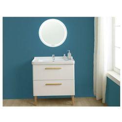 Zestaw mebli łazienkowych VATINE – szafka pod umywalkę i umywalka, lustro – biały lakierowany