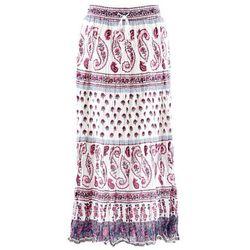 Długa spódnica bonprix biel wełny z nadrukiem