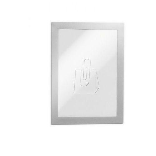 Folie do rzutników, Ramka samoprzylepna informacyjna DURAFRAME A5 DURABLE, srebrna, 2 sztuki
