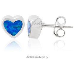 ankabizuteria.pl Srebrne rodowane kolczyki z opalem niebieskim - serduszka.