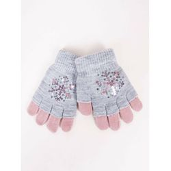 Rękawiczki dziewczęce szare podwójne ozdobne cekiny 16