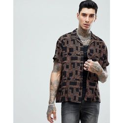 ASOS DESIGN oversized viscose shirt in geometric print with revere collar - Brown