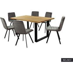 SELSEY Stół Lemucto dąb olejowany 160x95 cm z sześcioma krzesłami Kimmy ciemnoszarymi