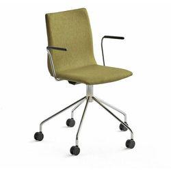 Krzesło konferencyjne OTTAWA, na kółkach, podłokietniki, oliwkowa tkanina, chrom