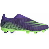 Piłka nożna, Buty piłkarskie adidas X Ghosted.3 LL FG fioletowo-zielone EG8164