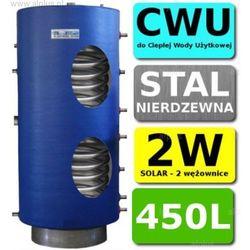 CHEŁCHOWSKI 450L 2-wężownice Nierdzewka Solar, 2W Zbiornik Zasobnik Wymiennik Bojler, Nierdzewna Stal, Wysyłka Gratis