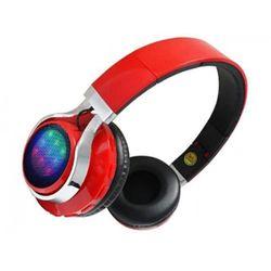 Bezprzewodowe słuchawki bluetooth czerwone LED