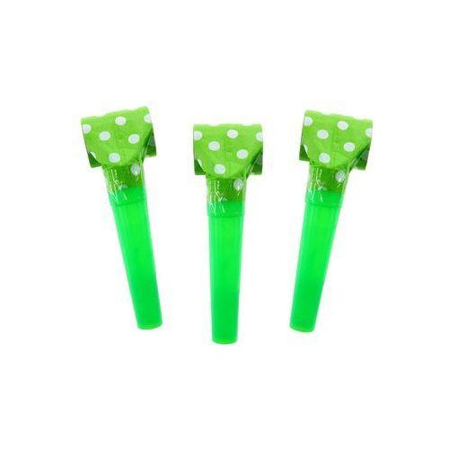 Pozostałe wyposażenie domu, Gwizdki trąbki rozwijane zielone w groszki - 6 szt