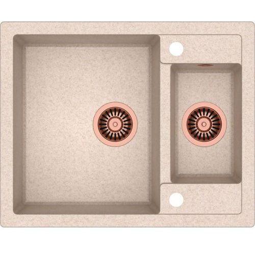 Zlewozmywak QUADRON MORGAN 150 beżowy metalik + odpływ miedziany PVD [HB8214U3-C1]