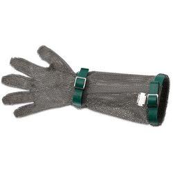 Rękawica metalowa z zielonymi paskami, bardzo długa, rozmiar XS | GIESSER, 9590 19