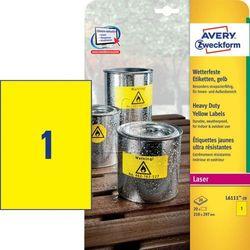 Avery Zweckform etykiety 210mm x 297mm, A4, żółte (L6111-20) Darmowy odbiór w 20 miastach!