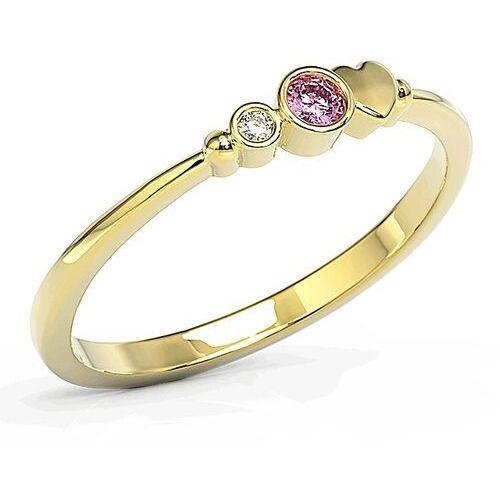 Pierścionki i obrączki, Pierścionek z żółtego złota z cyrkoniami Swarovski różową i białą BP-6807Z-C - Żółte \ BP-6807Z