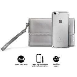 PURO Metal Duo - Zestaw torebka + etui Satin iPhone 8 / 7 (Silver) Limited edition