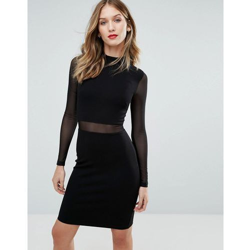 Suknie i sukienki, French Connection Betty Mesh Insert Jersey Dress - Black