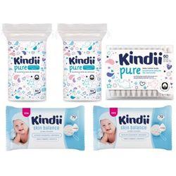 ZESTAW 2x CLEANIC 60szt Dzidziuś kindii Płatki dla niemowląt + 2x CLEANIC 72szt Kindii Skin Balance Chusteczki nawilżane do skóry normalnej + CLEANIC