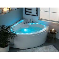 Wanna narożna z oświetleniem LED i hydromasażem biała PELICAN