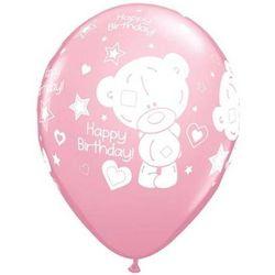 Balony z nadrukiem Miś Teddy Happy Birthday różowe - 30 cm - 5 szt.