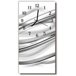 Zegar Szklany Pionowy Abstrakcja grafika linie biały