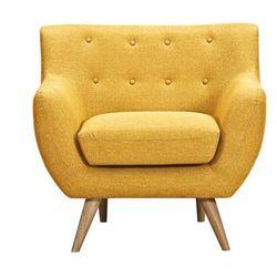 Fotel z tkaniny SERTI - Miodowa żółć z dopasowanymi dekoracyjnymi guzikami