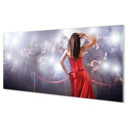 Szklany Panel Kobieta czerwona suknia ludzie