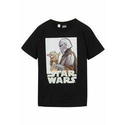 T-shirt bonprix biel wełny z nadrukiem