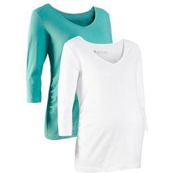 Shirt ciążowy z rękawami 3/4 (2 szt.), bawełna organiczna bonprix biały + zielony oceaniczny