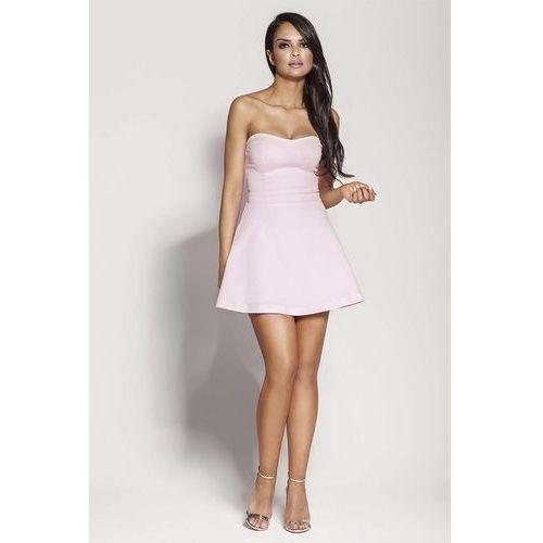 Suknie i sukienki, Różowa Mini Sukienka z Odkrytymi Ramionami