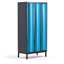 Metalowa szafa ubraniowa CURVE, na nóżkach, 3x1 drzwi, 1940x900x550 mm, niebieski