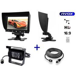 """Zestaw Monitor LCD 7"""" HD z obsługa do 2 kamer 4PIN 12V Samochodowa kamera cofania oraz kabel 4PIN o długości 10m"""