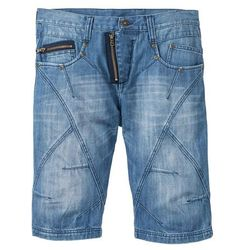 """Bermudy dżinsowe Regular Fit bonprix niebieski """"medium bleached used"""