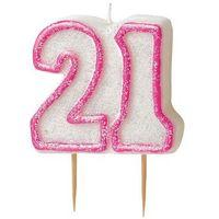 Świeczki, Brokatowa świeczka na 21 urodziny z różową obwódką - 1 szt.