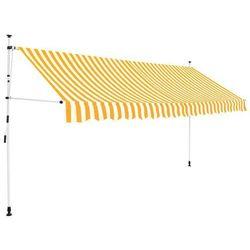 Markiza zwijana ręcznie, 350 cm, żółto-białe pasy